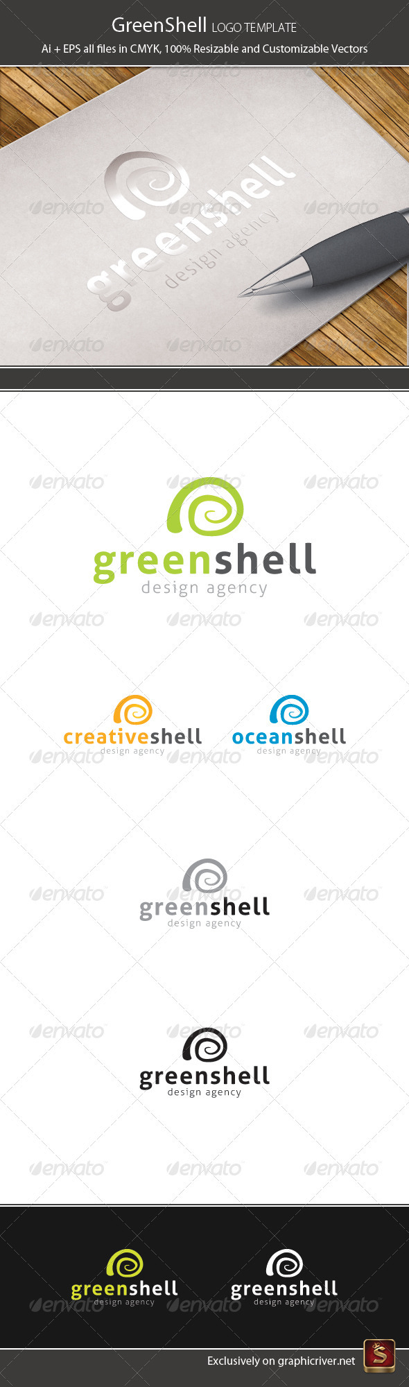 Green Shell Logo Template - Vector Abstract