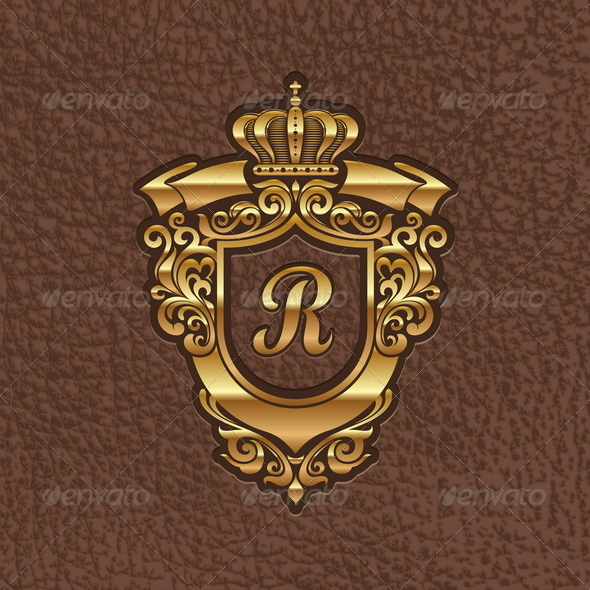 Golden Royal Coat of Arms - Decorative Symbols Decorative