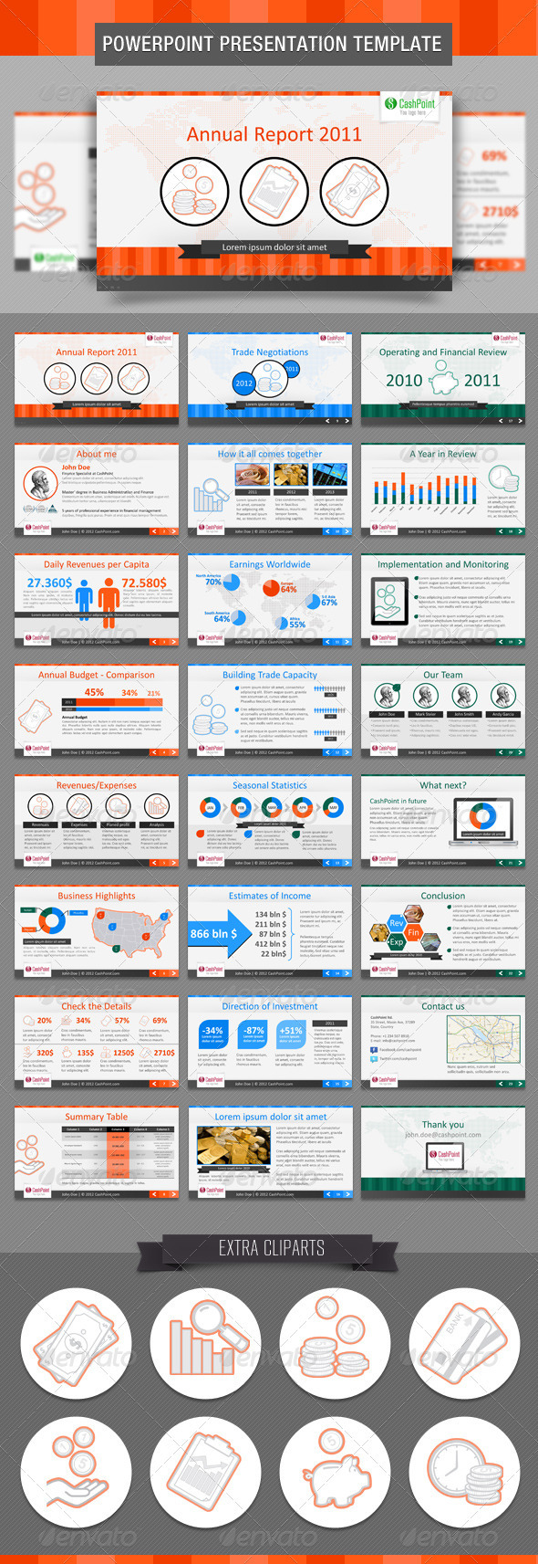 Financial Report FullHD PowerPoint Template - Powerpoint Templates Presentation Templates