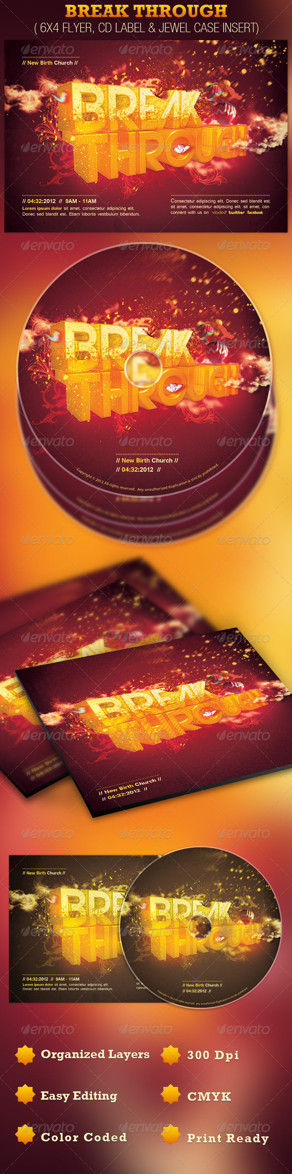 GraphicRiver Break Through Church Flyer and CD Template 2062563
