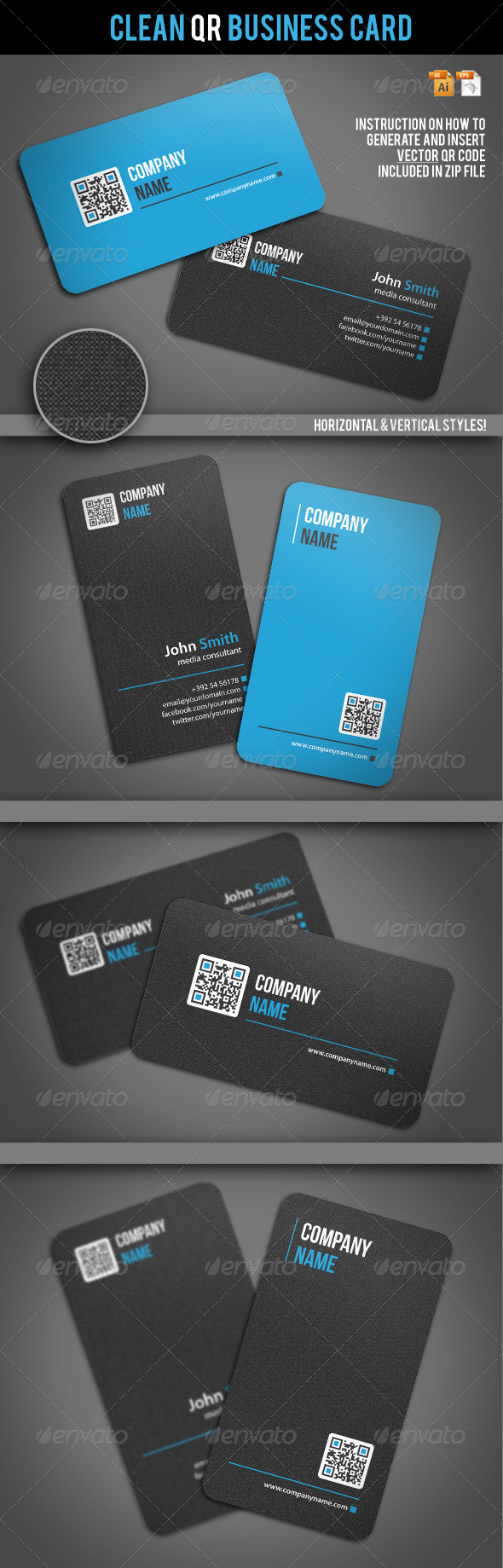 Clean QR Business Card - Corporate Business Cards
