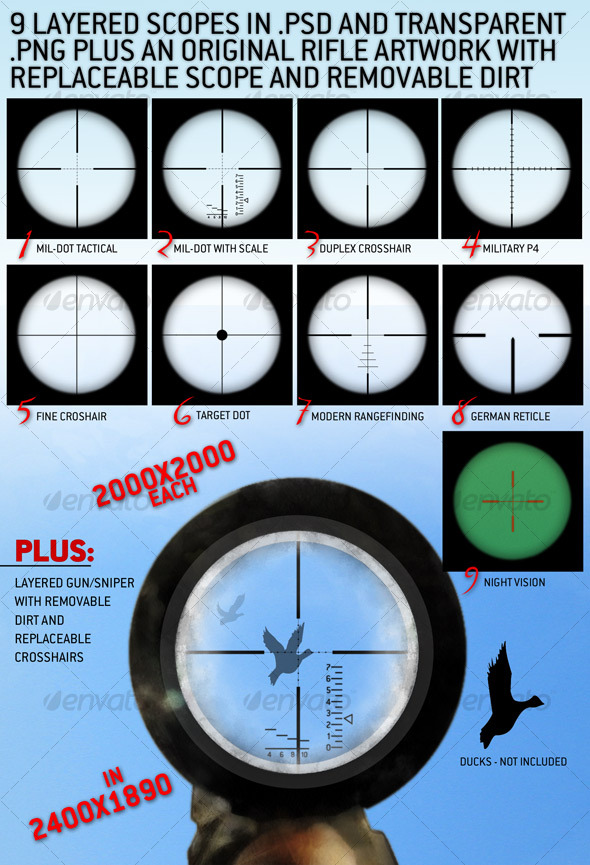 9 Layered Rifle Scopes set and a rifle view. - Miscellaneous Graphics