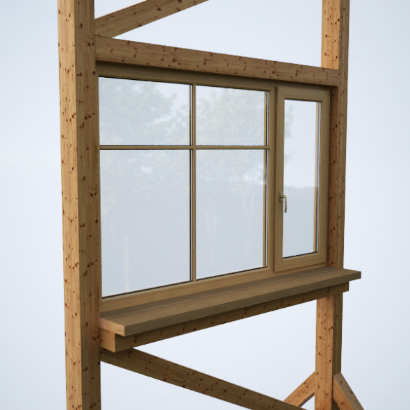 Wood window 2 - 3DOcean Item for Sale