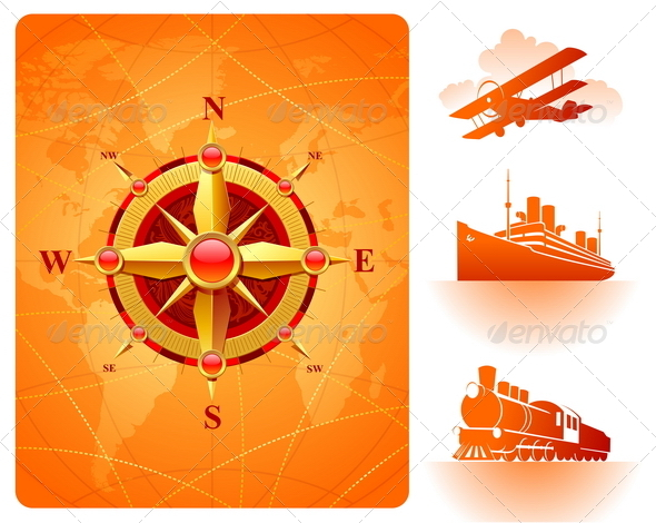 GraphicRiver Compass Rose Map and Retro Transport 2066914