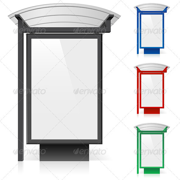 A billboard at a bus stop in different colors GraphicRiver - Vectors -  Characters 2067559