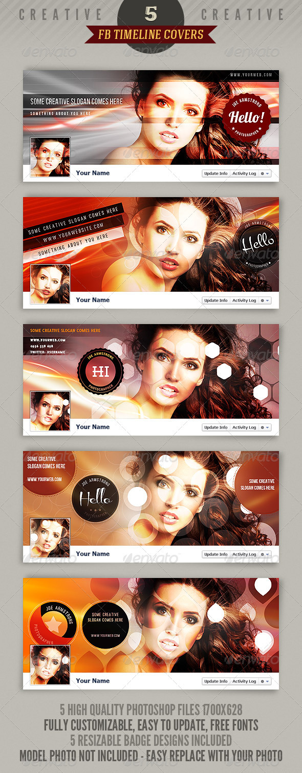 GraphicRiver 5 Creative Facebook Timeline Covers 2067673