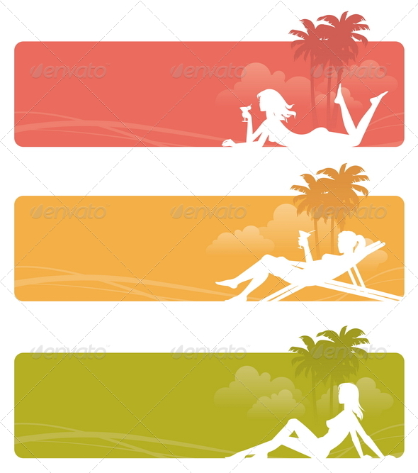 Graphicriver banners with relaxing girls 2067829