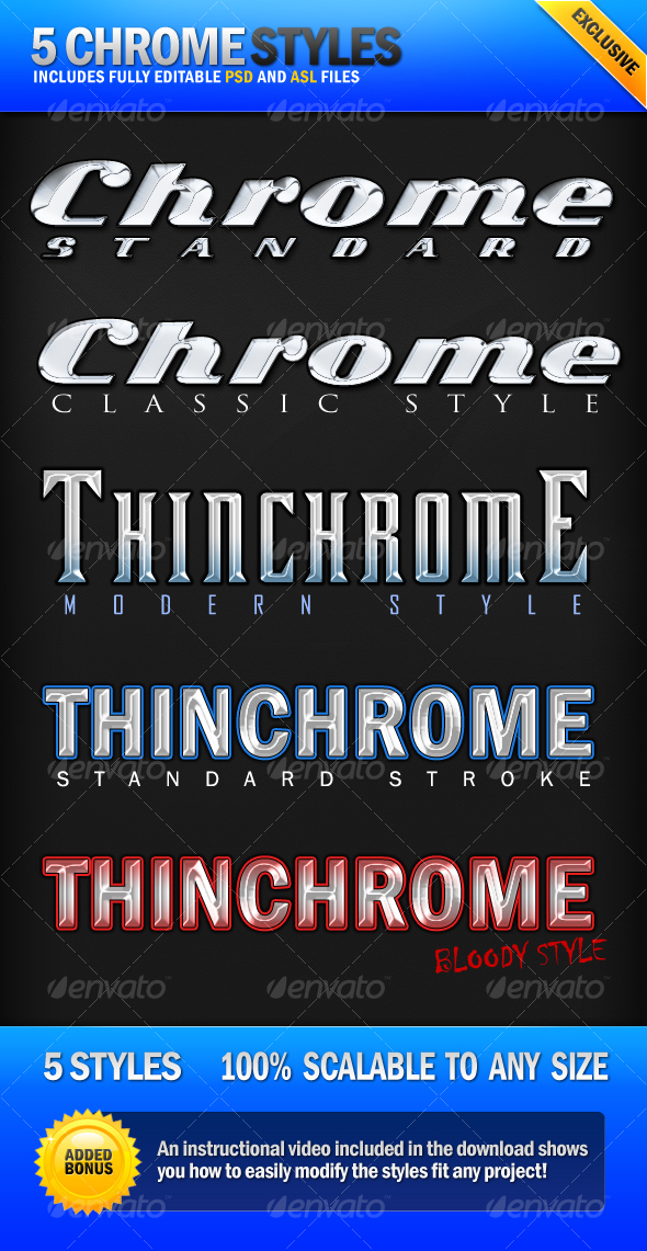 Graphic River Chrome 5 Clean Metallic Photoshop Styles Add-ons -  Photoshop  Styles  Text Effects 78592