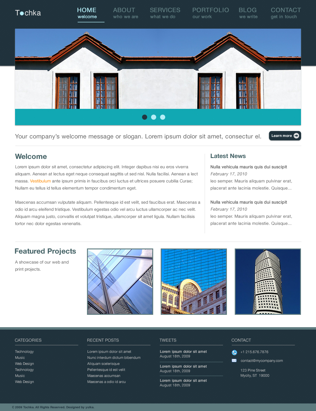 Tochka Business, Portfolio and Blog Template - Tochka HTML CSS Theme :: Homepage  A screenshot of the Homepage featuring jQuery image slider and fade in / fade out effect for the featured projects' images.