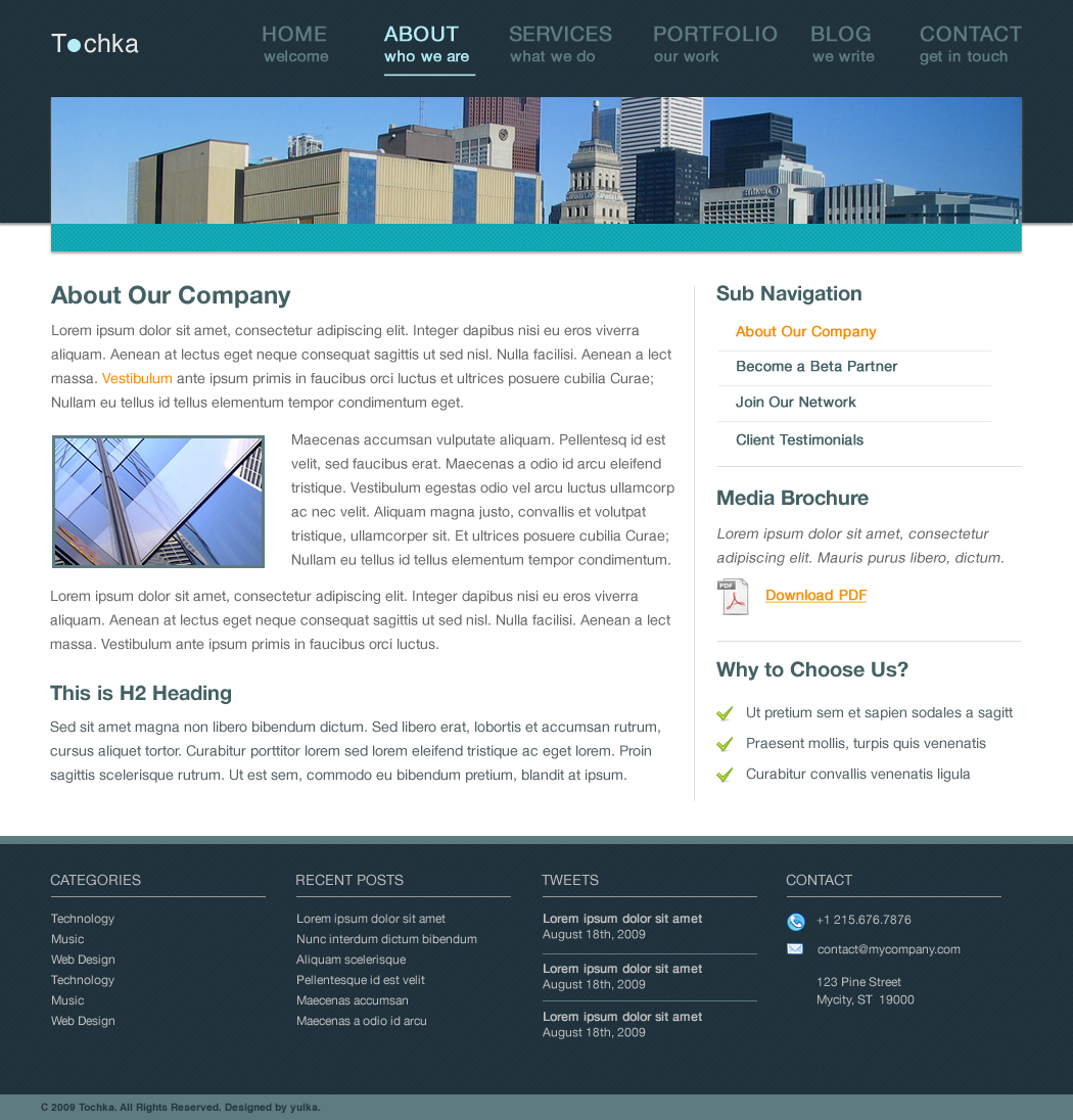 Tochka Business, Portfolio and Blog Template - Tochka HTML CSS Theme :: About  A screenshot of the About page featuring sub navigation and various sidebar styles.