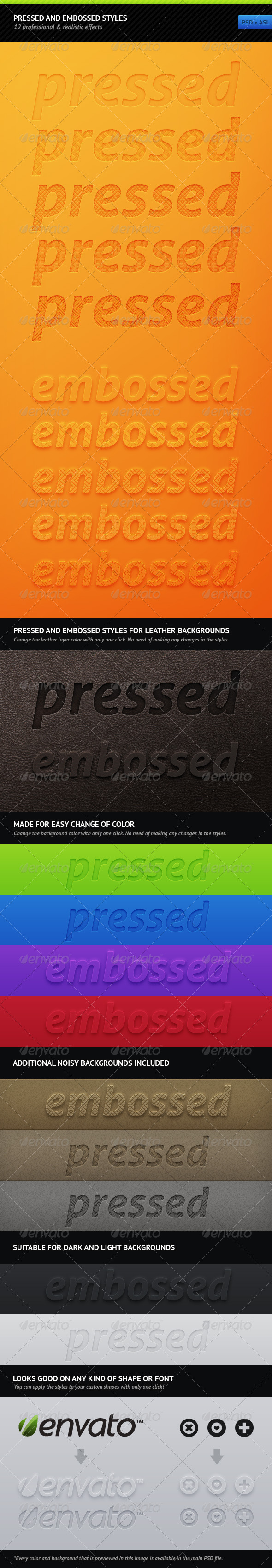 GraphicRiver Pressed And Embossed Styles 179707