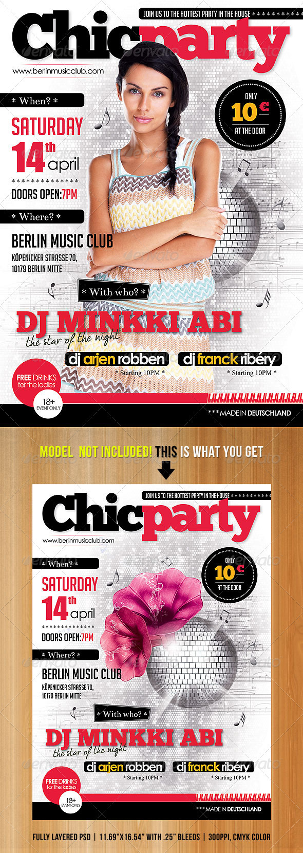 A3 Chic Party Magazine Poster/Flyer - Flyers Print Templates