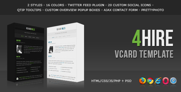 ThemeForest 4HIRE Elegant vCard Template 236937