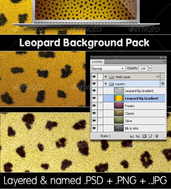 GraphicRiver Leopard Backgrounds Pack PSD & PNG 78920
