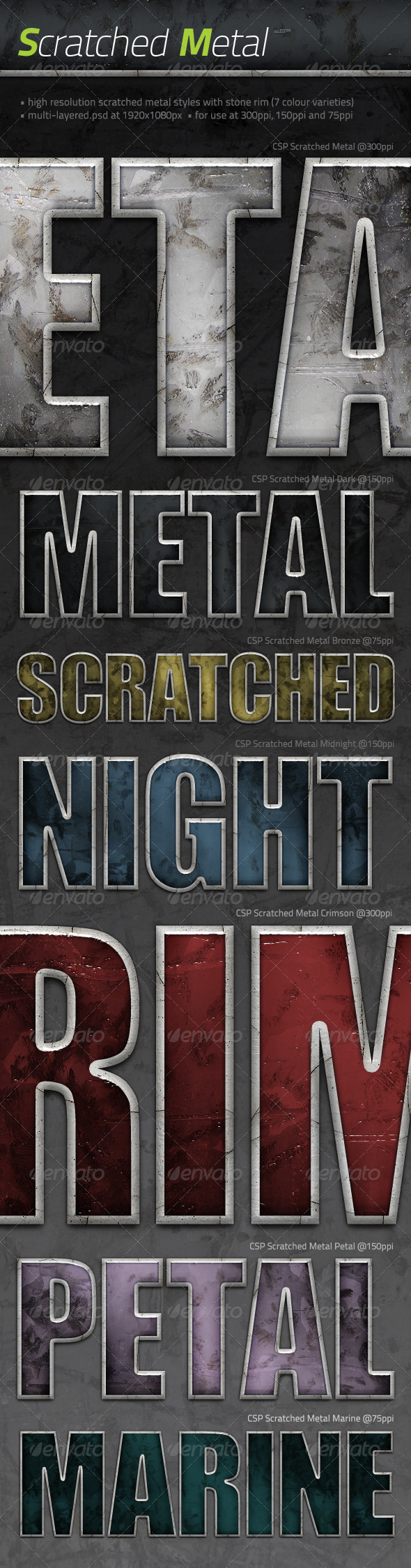7x Scratched Metals - Text Effects Styles