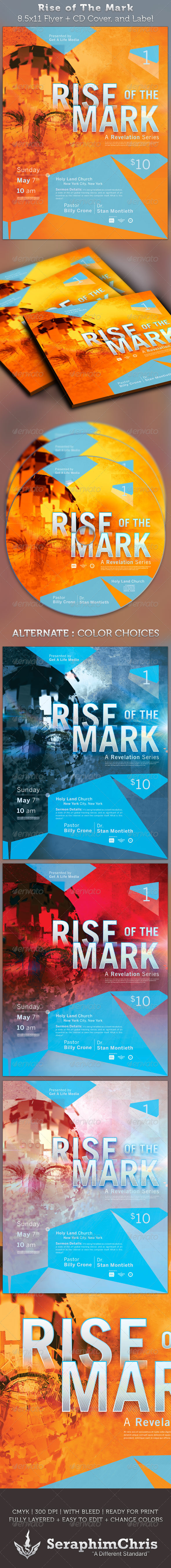 Rise of The Mark Full Page Flyer and CD Cover - Church Flyers