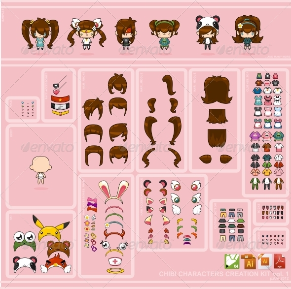 GraphicRiver Chibi Characters Creation Kit vol 1 2092345
