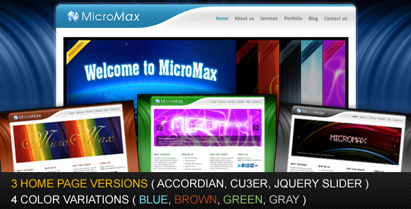 MicroMax - 4 Colors and 3 Homepage Variations