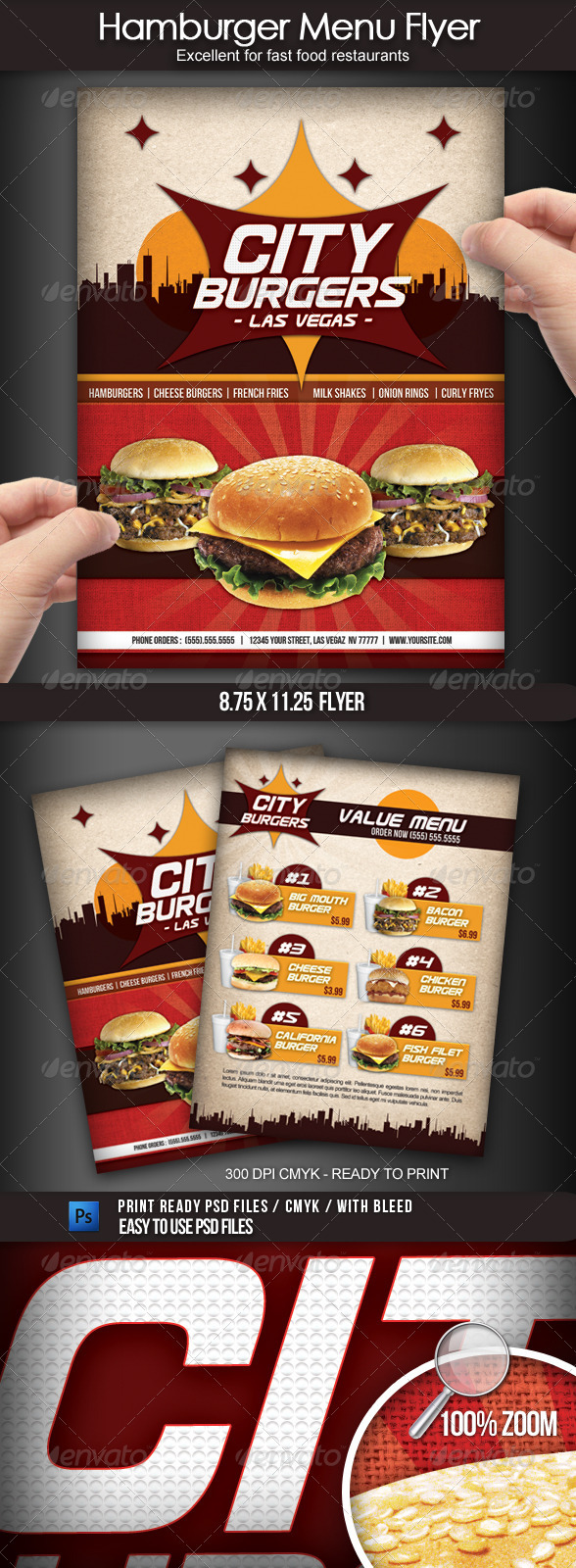 Hamburger Restaurant Menu Flyer - Restaurant Flyers