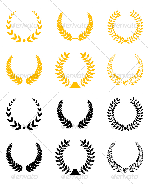 Set of laurel wreaths - Decorative Symbols Decorative