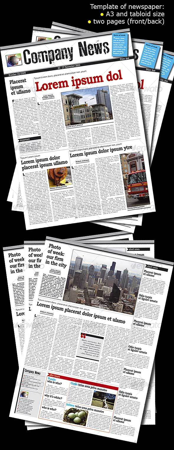Newspaper template - two pages A3 - Newsletters Print Templates