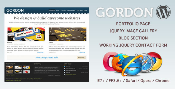 Gordon - WordPress Blog / Portfolio