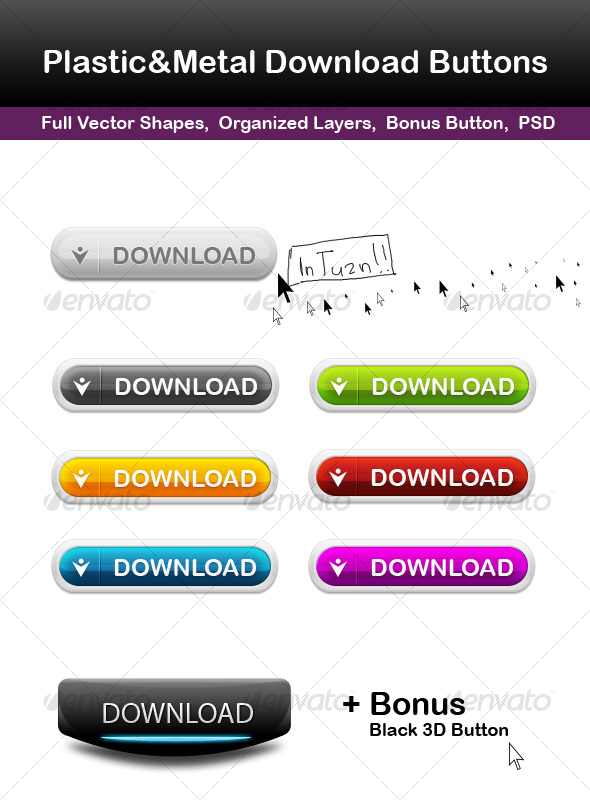 GraphicRiver Plastic&Metal Download Buttons 78183