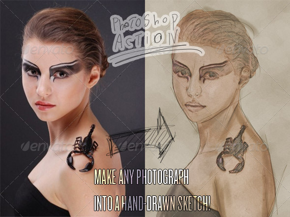 Photograph to Sketch Art - Photoshop Action - Photo Effects Actions