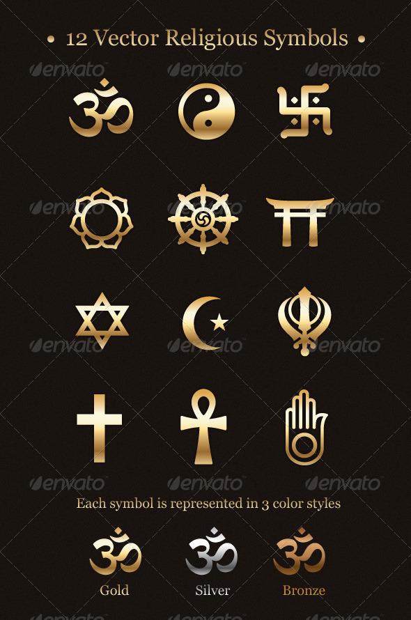 GraphicRiver 12 Vector Religious Symbols 238965