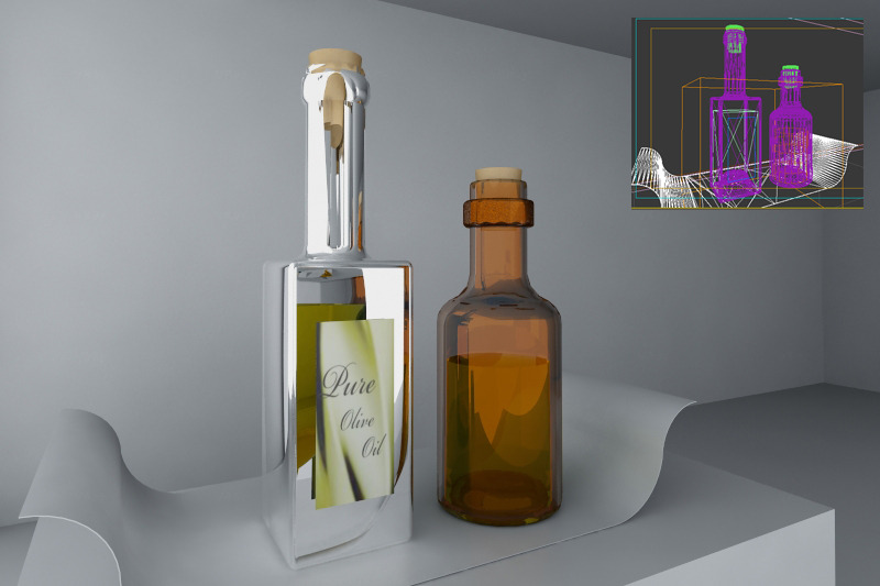 3DOcean olive oil and vinegar 3D Models -  Deco Objects 2106234