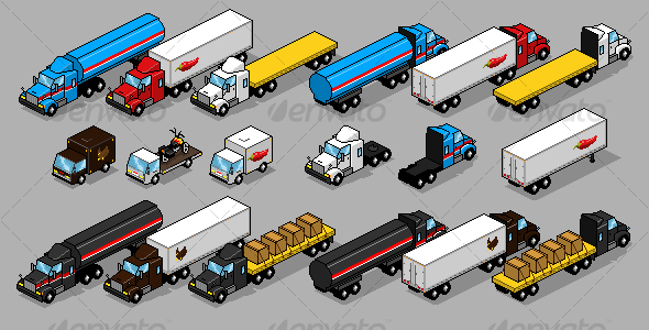 GraphicRiver Pixel Art Truck Pack 79957