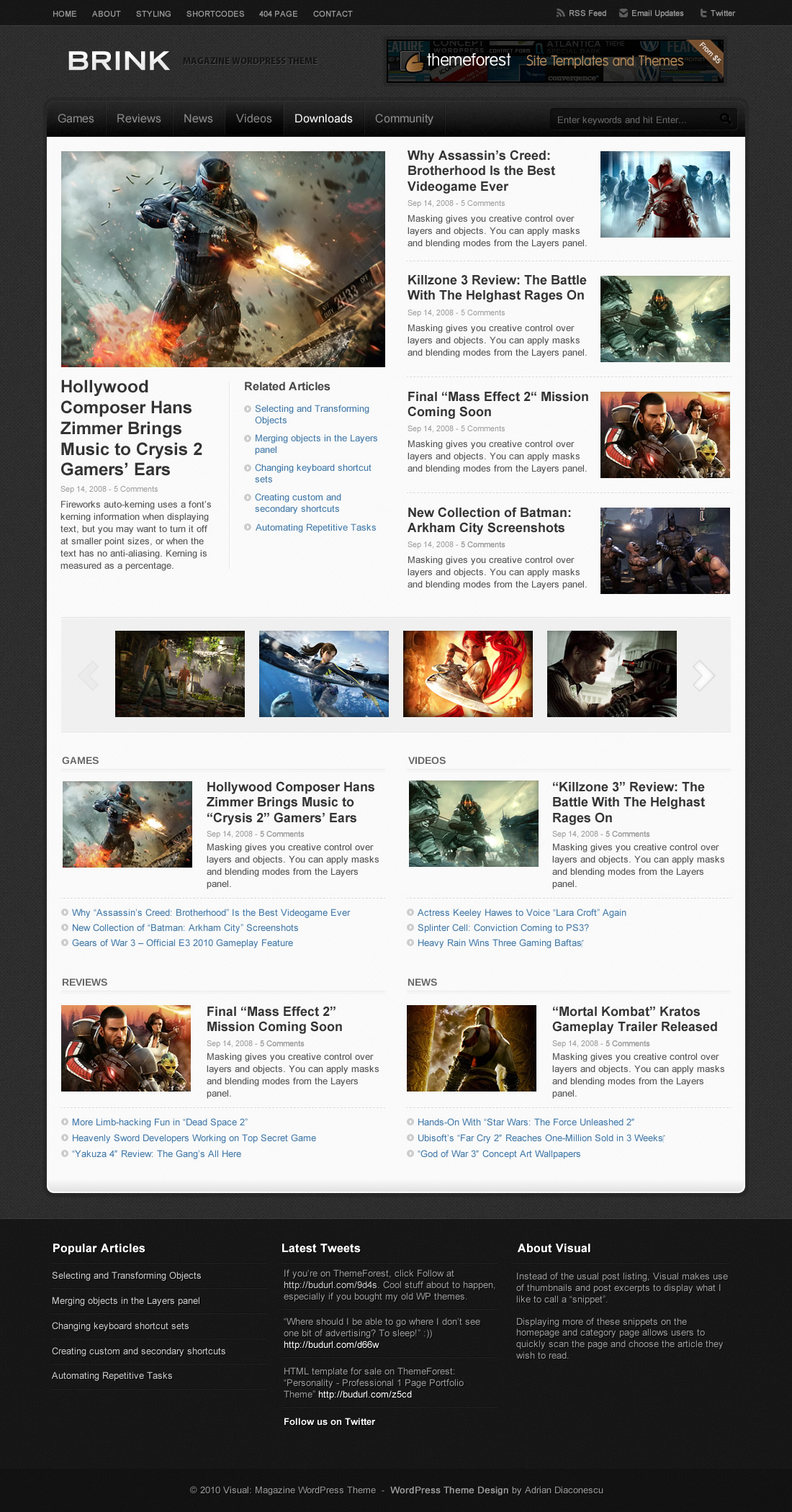 Brink - Magazine WordPress Theme - Homepage Dark Skin