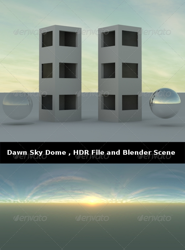 3DOcean Dawn Sky Dome HDR File and Blender Scene 239514