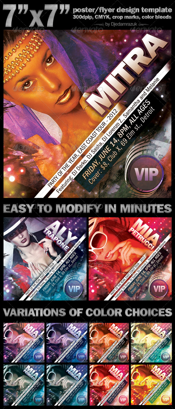 7'x7' Event Poster/Flyer - Clubs & Parties Events