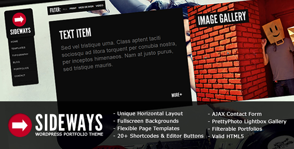 Sideways Portfolio Website WordPress Theme