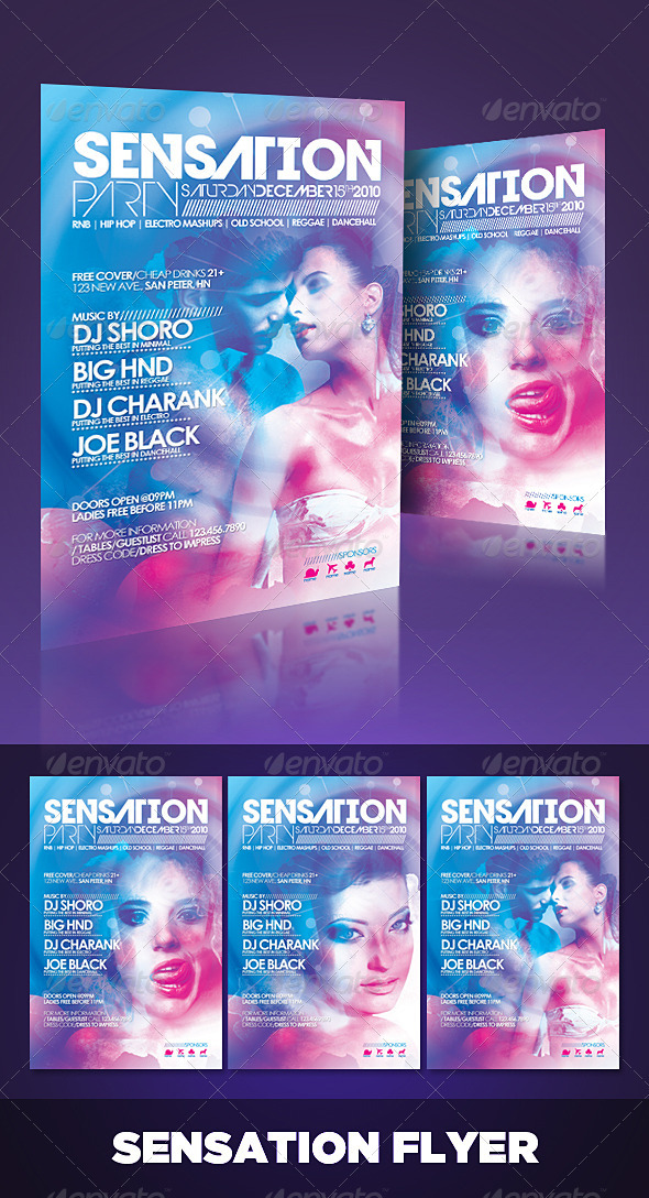 Sensation Flyer - Clubs & Parties Events