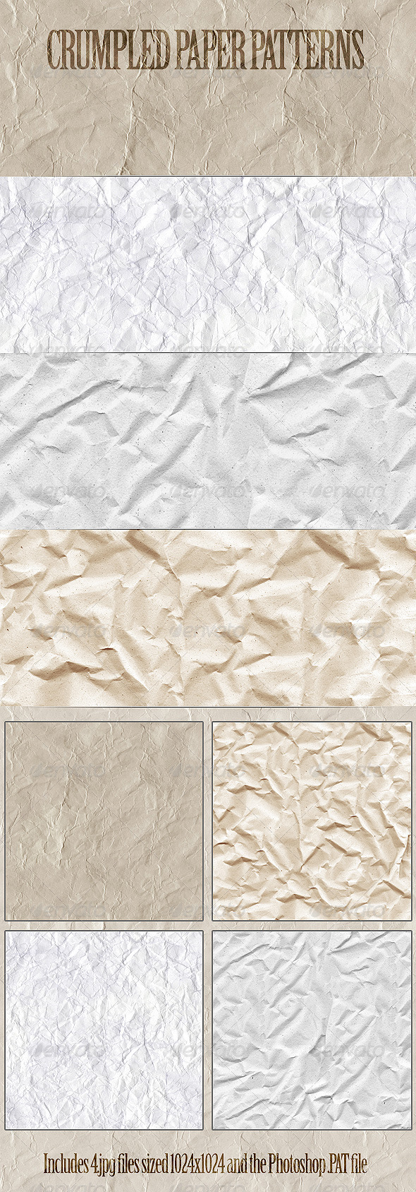 Crumpled Paper Patterns - Artistic Textures / Fills / Patterns