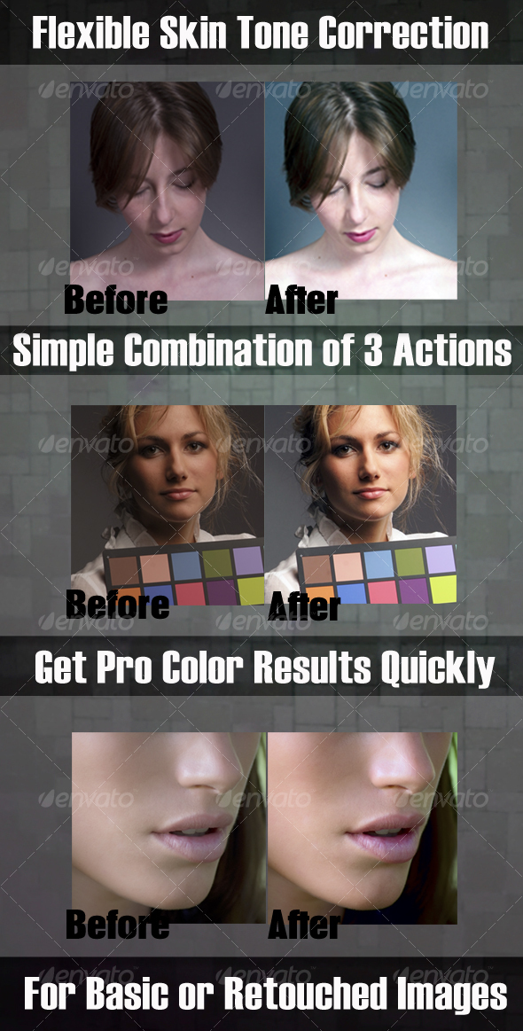 Skin Color Correction & Enhacement Actions #1 GraphicRiver - Add-ons -  Photoshop  Actions  Photo Effects 80218