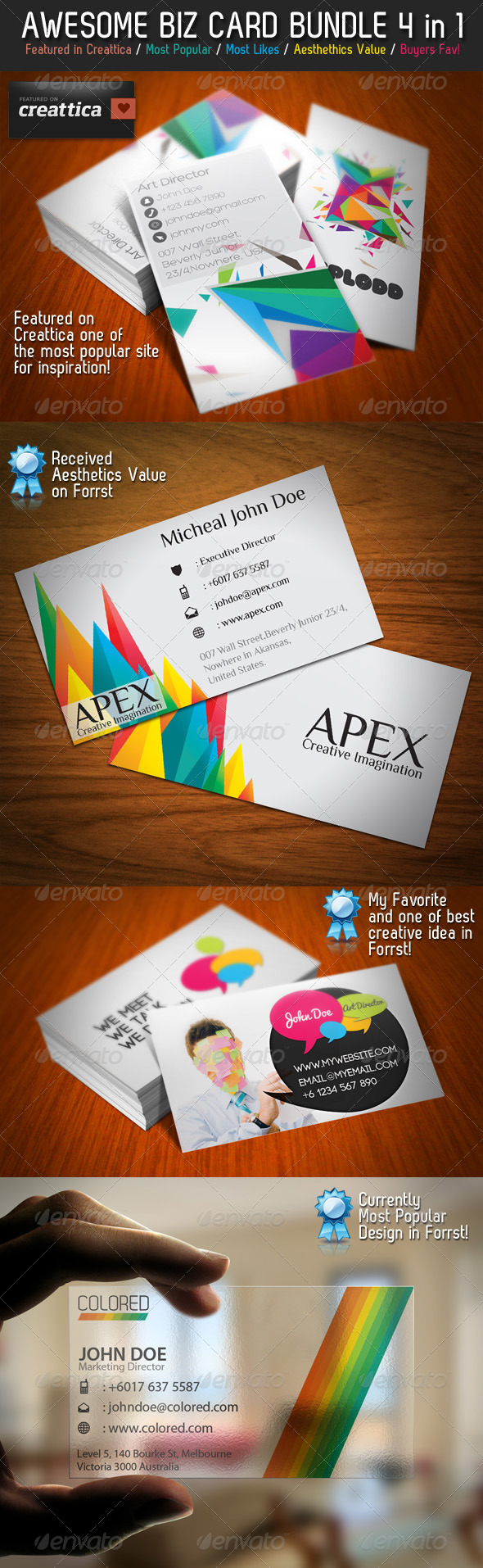 Colorful Business Card Bundle 4 in 1 - Creative Business Cards