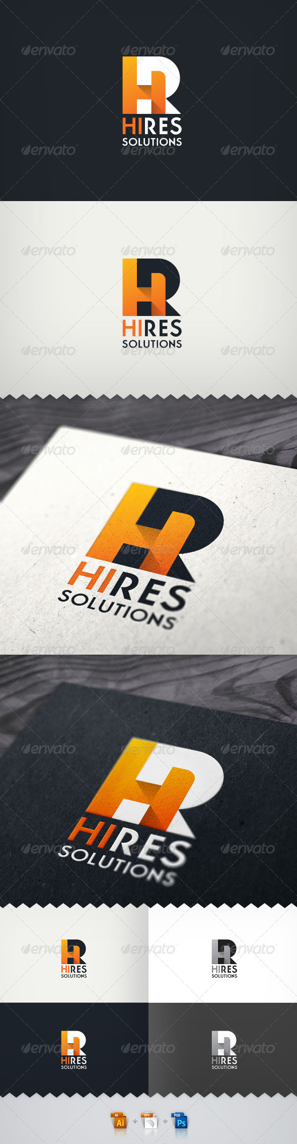Hi-Res Solutions Render Farm Logo - Letters Logo Templates
