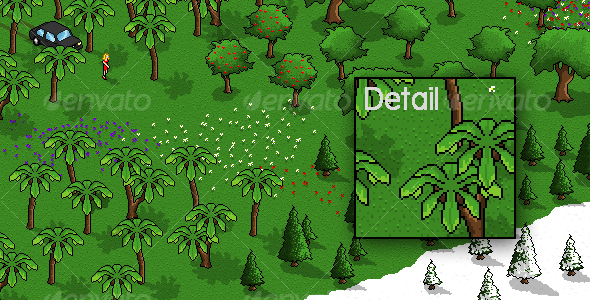 GraphicRiver Pixel Art Trees and Flowers Pack 80366