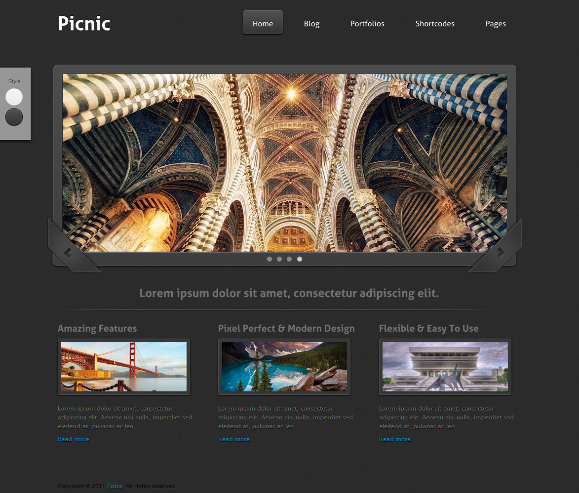 Picnic - Portfolio & Business Theme - Home Unlimited Color Elements, 30+ Shortcodes, Amazing Shortcode Generator, Portfolio and Slider Custom Post Types, AJAX Contact Form, Video Documentation, Sidebar Generator