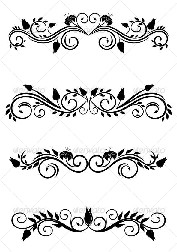Vintage floral decorations | GraphicRiver