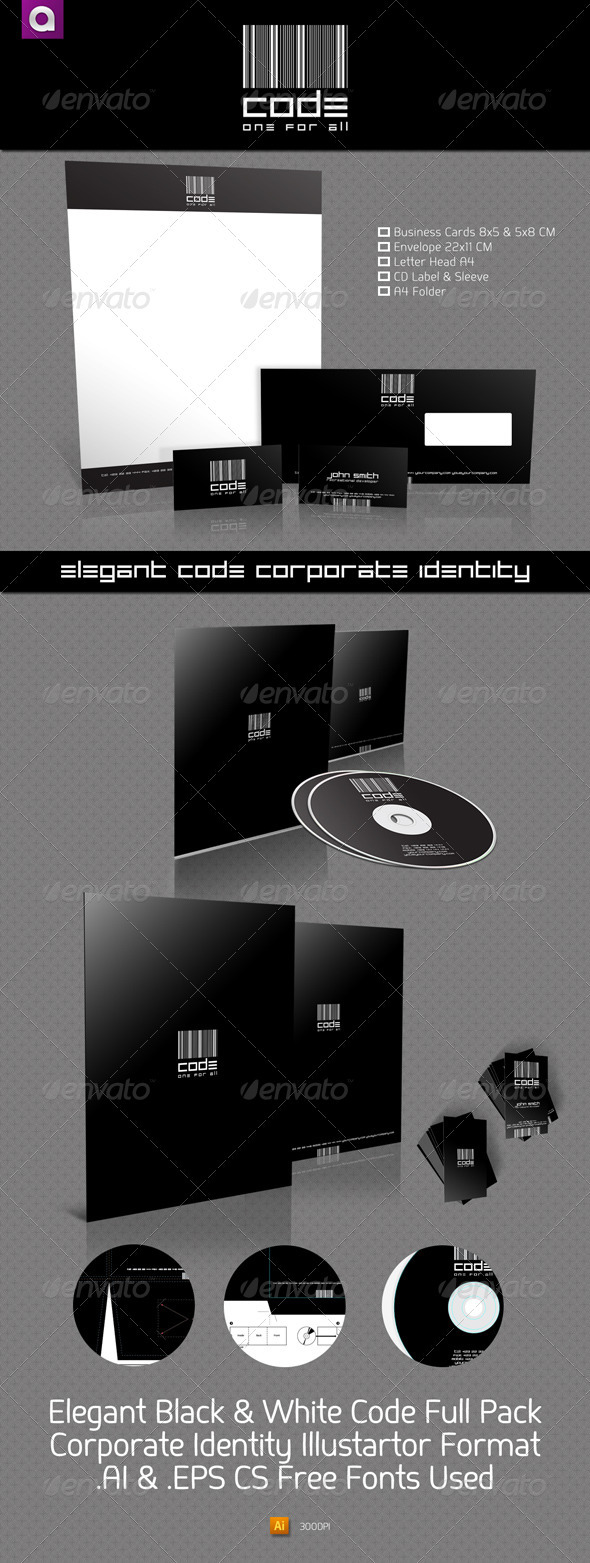 CODE Elegant Black & White Corporate Identity - Stationery Print Templates