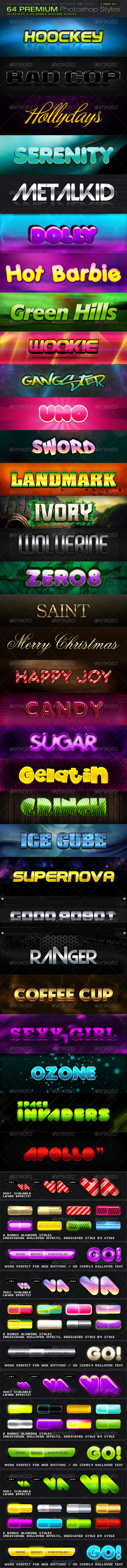 [BUNDLE] 64 PREMIUM Photoshop Styles - Text Effects Styles