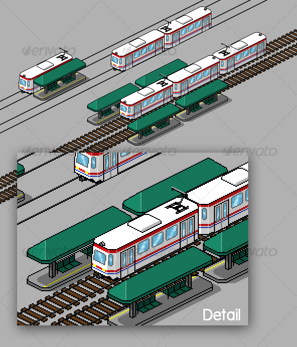 Pixel Art Tram and Station Pack - Objects Illustrations