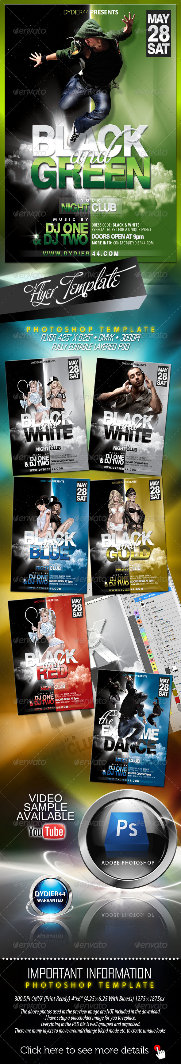 Black & Green (Flyer Template 4x6) - Clubs & Parties Events