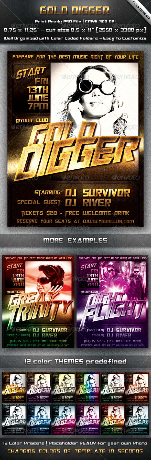 GraphicRiver Gold Party Flyer Template 242531