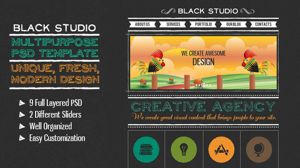The Multi Purpose Black Studio PSD