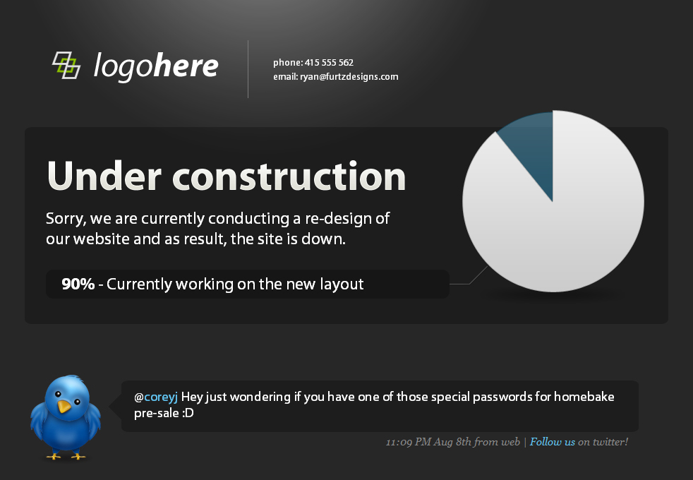 Under Construction page with twitter & pie graph! - See this one is much bigger. The pie graph that you see before you is easily changed to represnt to the percentage of your progress, just change the class of one div!